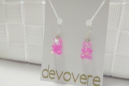 Hot Pink Gummy Bear Earrings