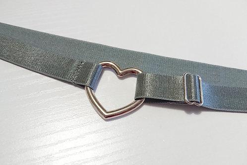 Grey Satin Ella Garter, Adjustable