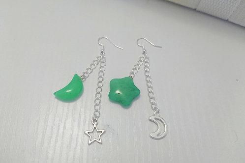 Green Night Sky Earrings
