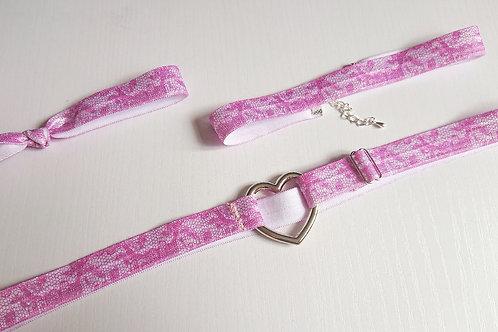 Ella/Ava Garter Set - Pink Lace