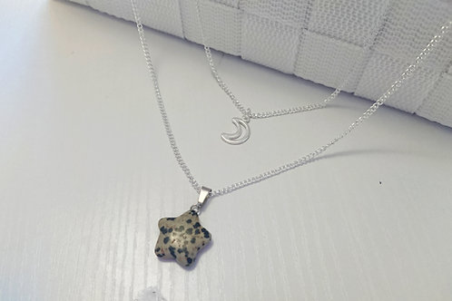 Dalmation Jasper Night Sky Double Necklace