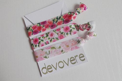 Hair Ties - Pink Blooms