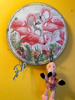 SOLD Flamingo Leash/Key Holder