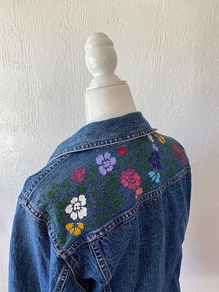 Redesigned Liz Claiborne Vintage Jean jacket Embellished with Flowers