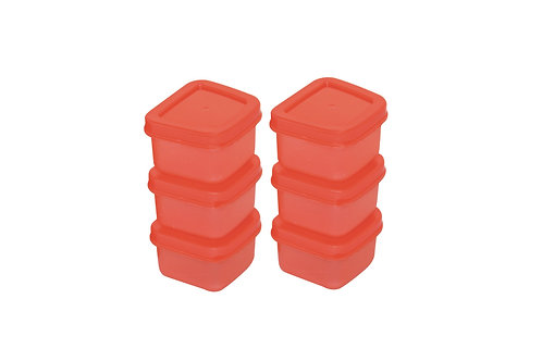 Mini Food Container set 90 ml(Set Of 6) SHADE-RED