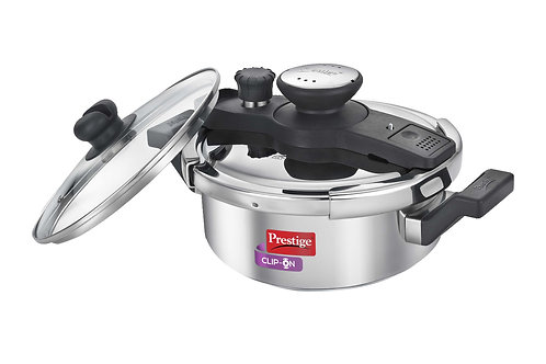 Stainless steel prestige clip on 3 liter cooker