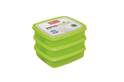 SQUARE CONTAINER 400 ML(SET OF 3) SHADE-GREEN