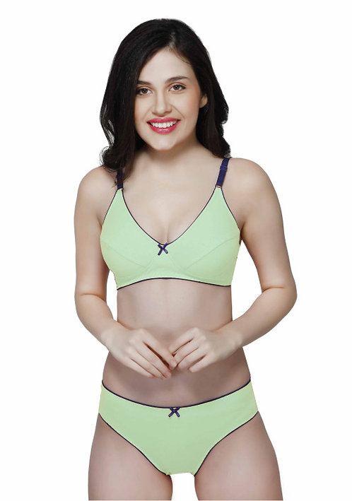 Wirefree Everyday Bra with Co-ordinated Panty-KS009-Pista