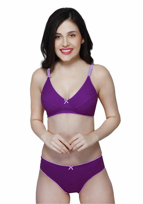 Wirefree Everyday Bra with Co-ordinated Panty-KS009-Purple