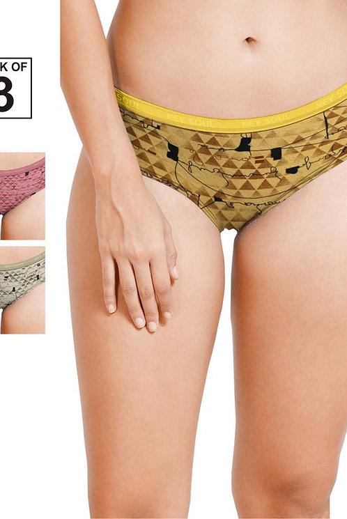 Printed Outer Elastic Panty Pack of 3 -KS002-Pack 29
