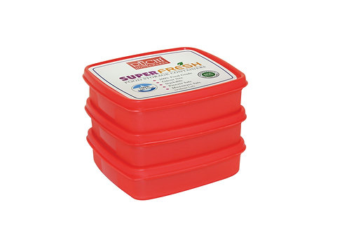 SQUARE CONTAINER 400 ML(SET OF 3) SHADE-RED