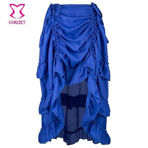 Victorian Blue Chiffon Ruffles Asymmetrical Steampunk Skirt Plus Size Corset