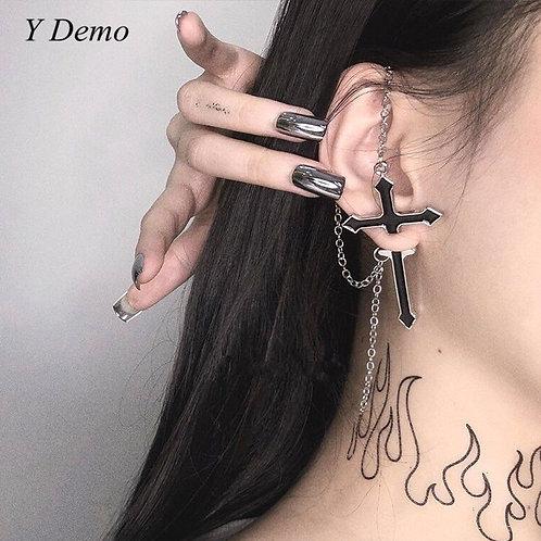Gothic Black Crossing Stud Earring Women Punk Chain Earring Accessory