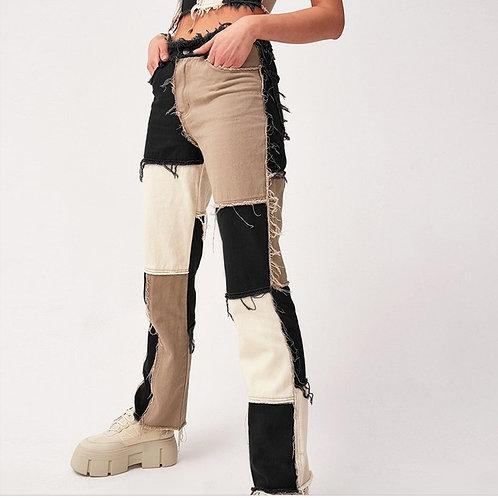 Streetwear Patchwork Jeans Block Color Long Trousers Women High Waist Jeans