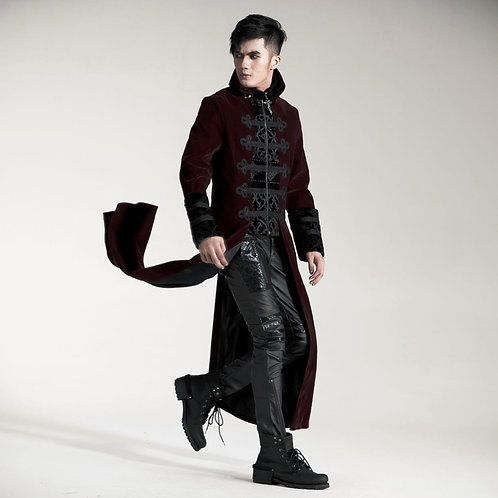 Fashion Gothic Punk RAVE Streampunk Mens Long Jacket Coat Hoodie Two