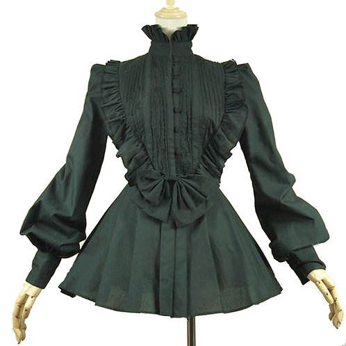 Victorian Gothic Pleated Steampunk Black Blouse Top Shirt Theater