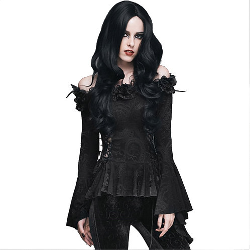 Gothic Women Lace Victorian Blouse Flare Sleeve Steampunk Floral
