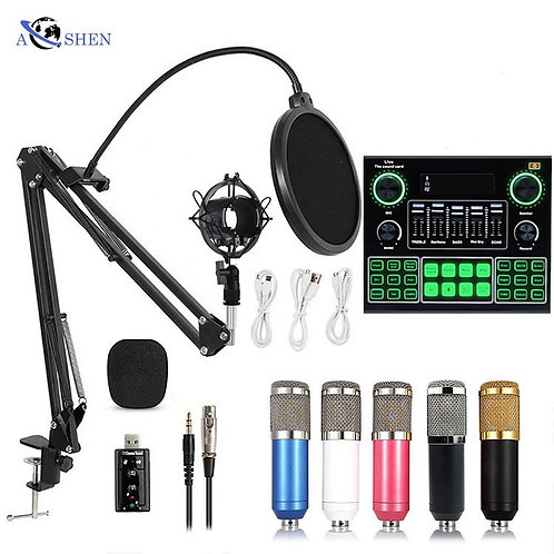 Wholesale Professional Condenser Microphone Sound Card Set for Webcast