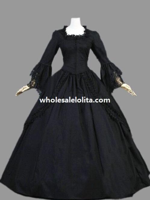 Historical Gothic Black Cotton Marie Antoinette Dress Halloween Masquerade