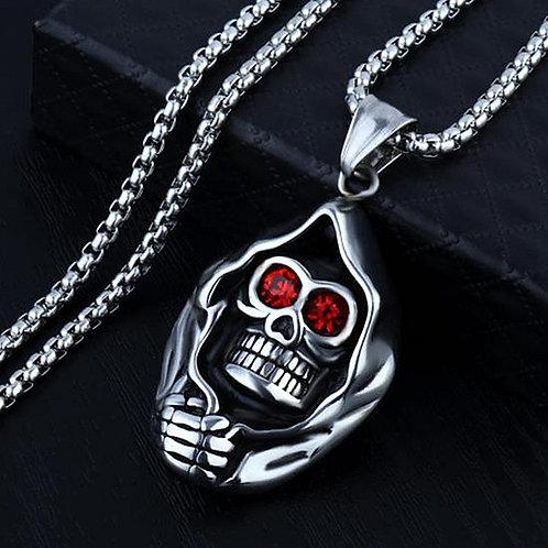 HNSP Gothic Red Eye Skull Pendant Necklace for Men
