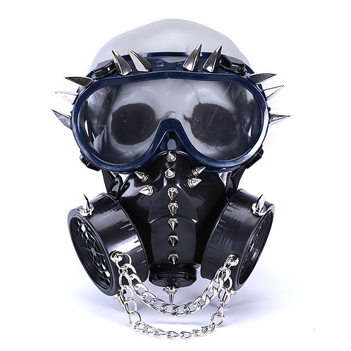 Steampunk CoolSpikes Chain Masks With Goggles Respirator Cyber Gothic Cosplay