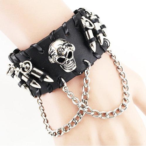 Unisex Black PU Leather Cool Bullet Wristband Adjustable Skull Metal Chain