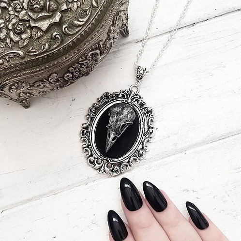 Gothic Crow Skull Cameo Necklace