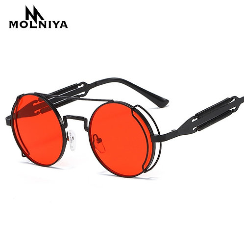 New Red Metal Round Sunglasses Gothic Steampunk Sunglasses Mens Womens Fashion