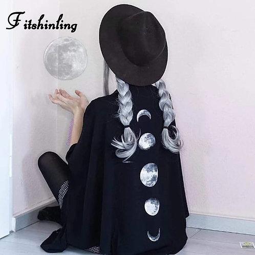 Fitshinling Moon Gothic Blouse Shirt Women Batwing Sleeve Big Size Fringe Top