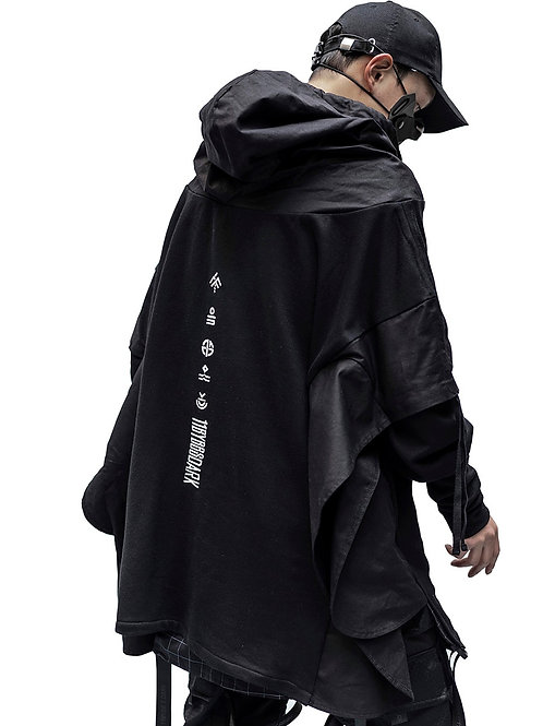 Techwear Hoodie Men Black Gothic Cosplay Japanese Streetwear Clothing