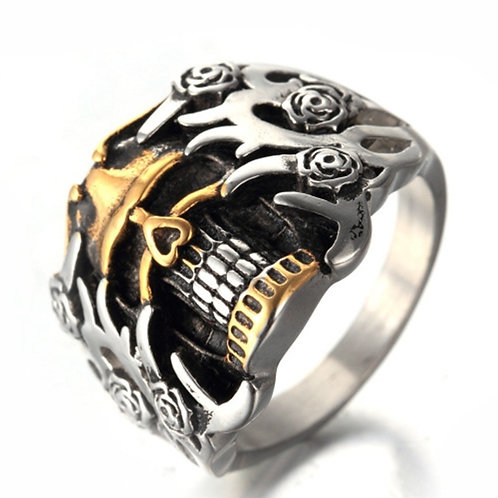 High Quality Metal Vintage Gothic Men Punk Skull Ring Jewelry