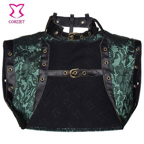 S-6xl Green Floral Brocade Sleeveles Vest Bolero Women Jacket With Leather