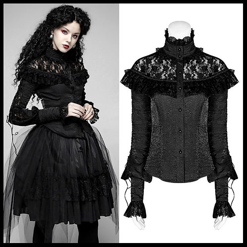 PUNK RAVE Women's Gothic Stand Collar Floral Lace Shirts Fashion