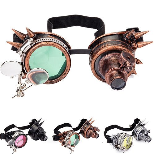 FLORATA Cosplay Vintage Rivet Steampunk Goggles Glasses Welding Gothic