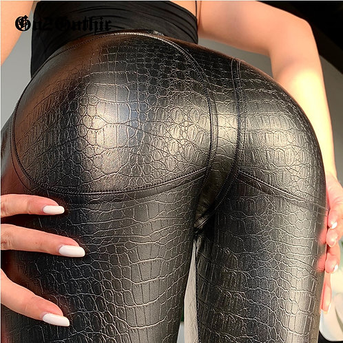 Gothic Punk High Waist Straight Faux Crocodile Leather Pants Womens Thights