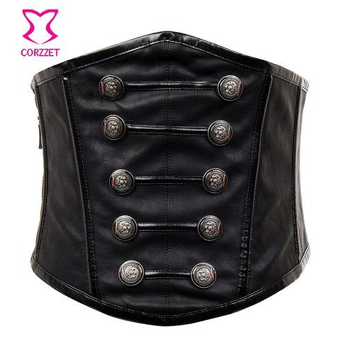 Retro Punk Black Faux Leather Corset Belt Gothic Military Wide Waist Belt