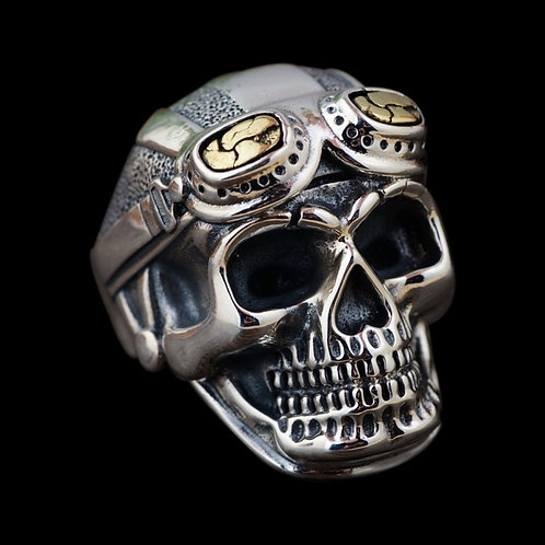 Punk Men Ring Vintage Gothic Pilot Skull Ring for Men Accessories