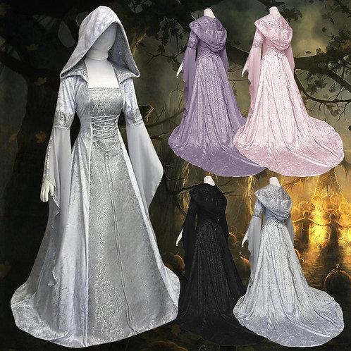 Women Vintage Hooded Dress Gothic Dress Halloween Costume COLDKER