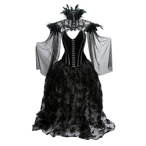 Floral Pattern Halloween Victorian Corset Dress Gothic