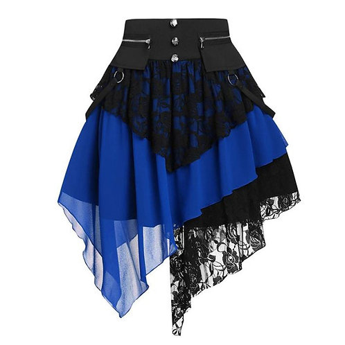 Womens Gothic Renaissance Skirts High Waisted Ruffles Steampunk Lace Midi