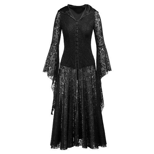 Medieval Costume Black Witch Dress Gothic Retro Long Skirt Dress