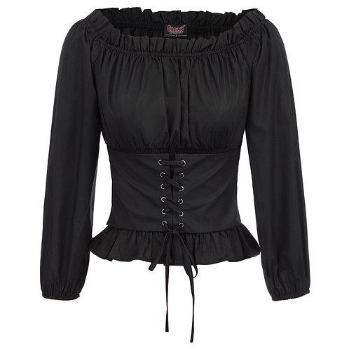Vintage Shirt Women Gothic Blouse Ladies Renaissance Solid Color Elegant