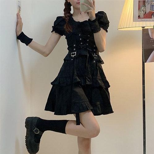 QWEEK Women's Gothic Lolita Dress Gothic Punk Mall Goth Kawaii Cute Ruffle