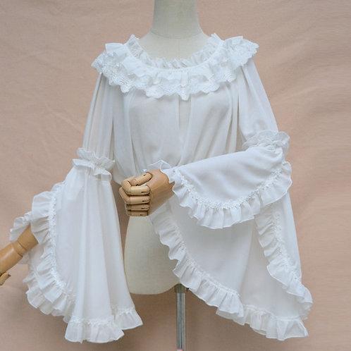 White Lace & Chiffon Ruffles O Neck Flare Sleeve Short Gothic Shirt Victorian