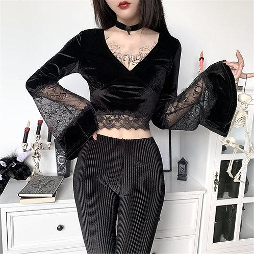 35#Ladies Retro Elegant Black Lace Gothic Sexy Mesh See-Through Long-Sleeved