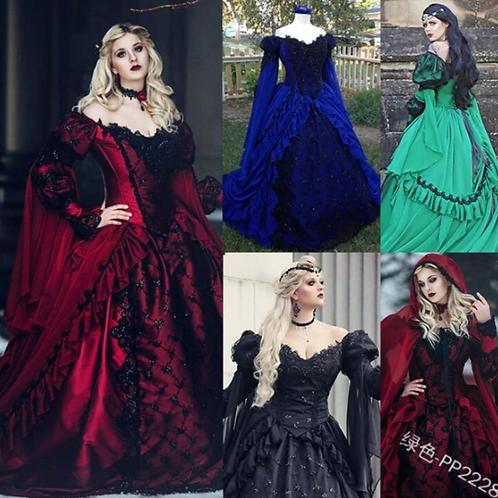 Vintage Lace Slash Neck Long Victorian Dress Kawaii Girl Gothic Lolita
