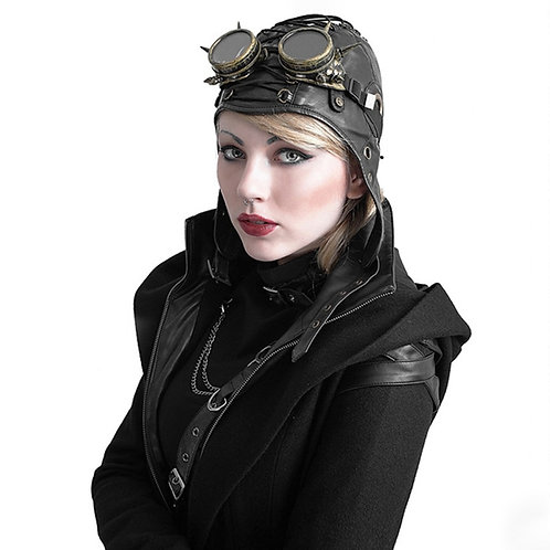 Steampunk Gothic Pilot Hat Cosplay Accessory Aviator Cap Unisex Soft Leather