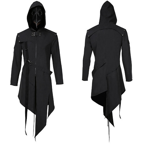 Plague Doctor Cosplay Costume Men Steampunk Gothic Hooded Jacket
