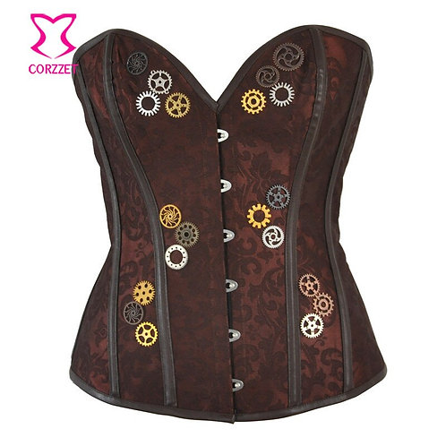 Brown Brocade With Gear Steampunk Steel Boned Corset Overbust Vintage Gothic