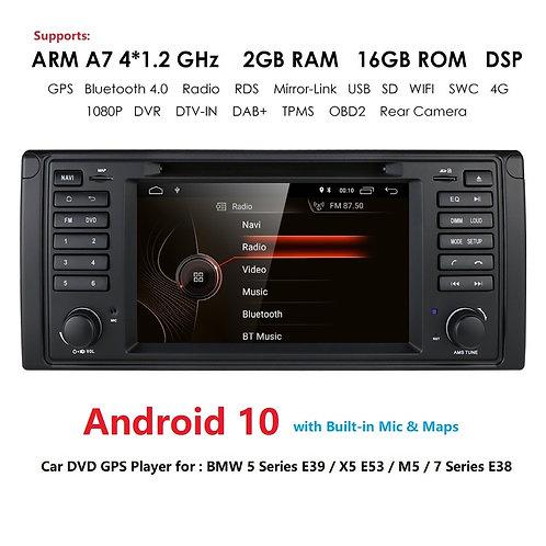 DSP Android 10 1din Car GPS Radio DVD for BMW E38 E39 5 7 X5 E53 Stereo Audio